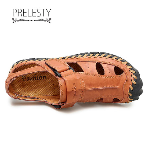 Prelesty Summer Fashion Men's Sandal Cow Leather Shoes Beach Outdoor