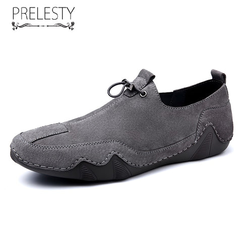 Prelesty Fashion Genuine Leather Men Driving Loafer Shoes Handsome Breathable Easy Wear