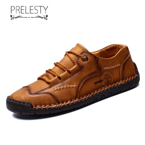 Prelesty Big Size Summer High Quality Men Shoes Formal Handmade Cow Leather Durable Use Lightweight