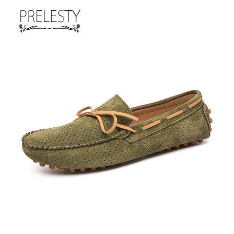 Prelesty Summer Formal Elegant Men Slip On On Smart Boat Hole Hollow Business Shoes