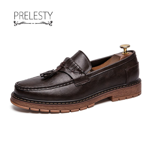 Prelesty Vintage British Autumn Brogue Men Leather Formal Shoes Rubber Outsole