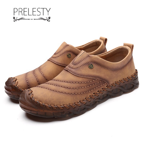 Prelesty Big Size 38-48 Fashion Loafer Soft Cow Leather Men Driving Shoes Moccasin Aesthetic