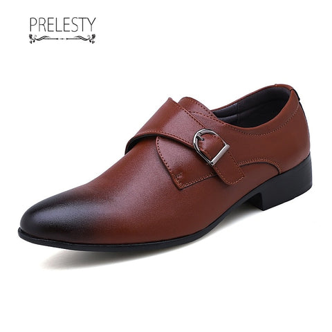 Prelesty Big Size 39~48 Leather Vogue Men Formal Shoes Monk Strap Dress Wedding