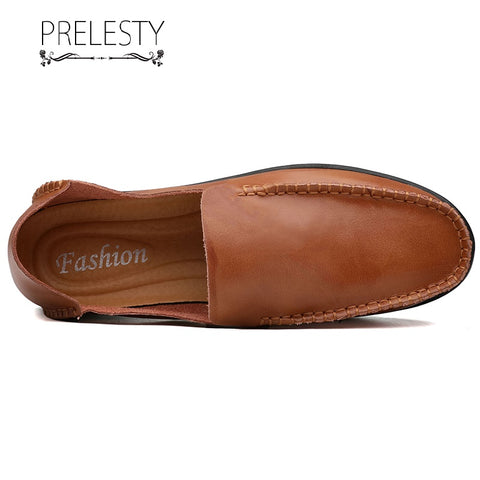 Prelesty Large Size Driving Men Dress Shoes Soft Loafer Soft Casual Cowhide Business Simple