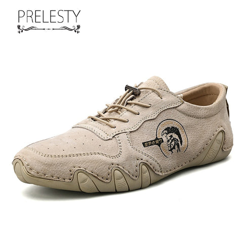 Prelesty Big Size Handmade Soft Light Leather Casual Loafer Men Driving Shoes Moccasin Breathable High Quality