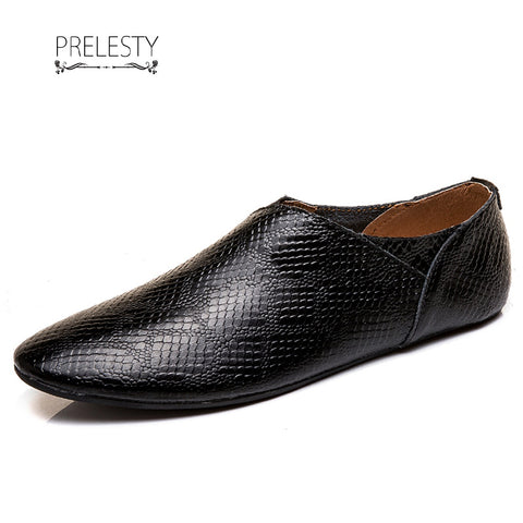 Prelesty Casual Simple Cow Leather Men Slip On Loafer Driving Shoes Summer Crocodile