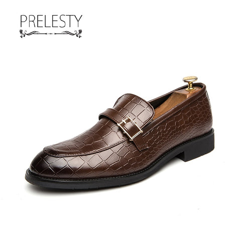 Prelesty Big Size Classic Leather Men Formal Dress Footwear Party Shoes Business Wedding Wear Plaid