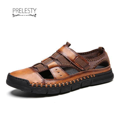 Prelesty Comfortable Men Sandal Shoes Soft Split Cow Leather Outdoor Professional