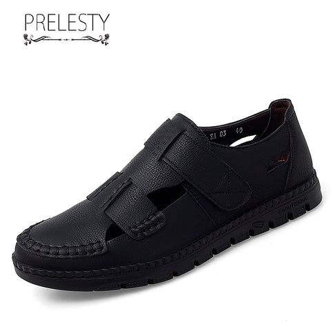 Prelesty Fashion Hollow Out Men Formal Slip On Shoes Business Handsome Buckle Comfortable Office Design