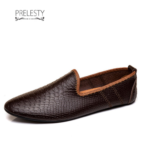 Prelesty Lightweight Soft Leather Men Driving Shoes Casual Slip On Loafer Crocodile