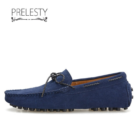 Prelesty Handmade Cow Leather Men Driving Boat Shoes Casual Breathable Loafer Moccasin Lightweight