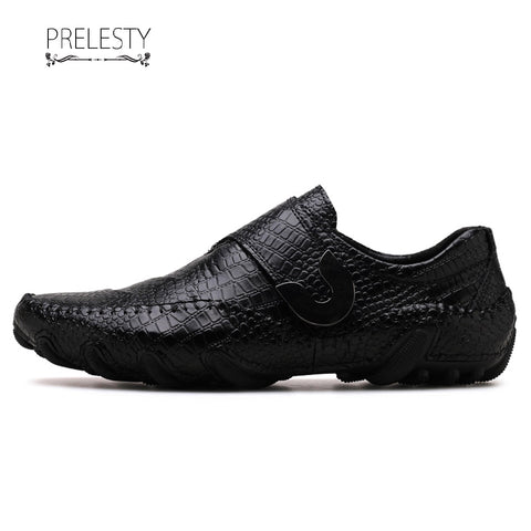Prelesty Luxury Design Cow Leather Men Driving Shoes Formal Slip On Crocodile Breathable Buckle