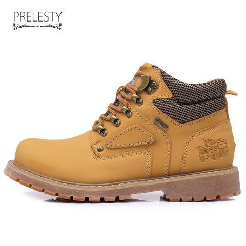 High Quality Winter Men Work Boots Autumn Shoes Casual High Top Warm Leather Footwear Cool