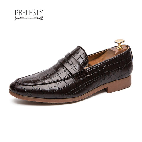 Prelesty Italian Design Men Leather Formal Shoes Penny Loafer Business Plaid Flats