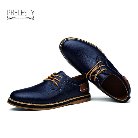 Men Genuine Cow Leather Dress Wingtip Shoes Luxury