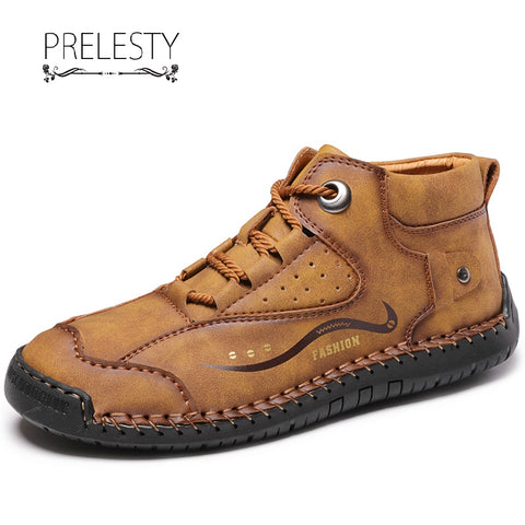 Prelesty Fashion Genuine Cow Leather Handsome Men Boots High Tops Shoes Vintage English Breathable