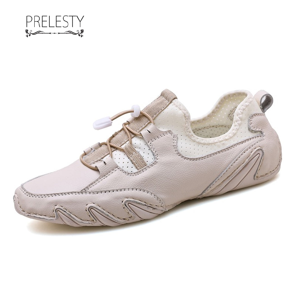 Prelesty Summer Handsome Genuine Leather Casual Loafer Soft Men Driving Shoes Simple Lightweight