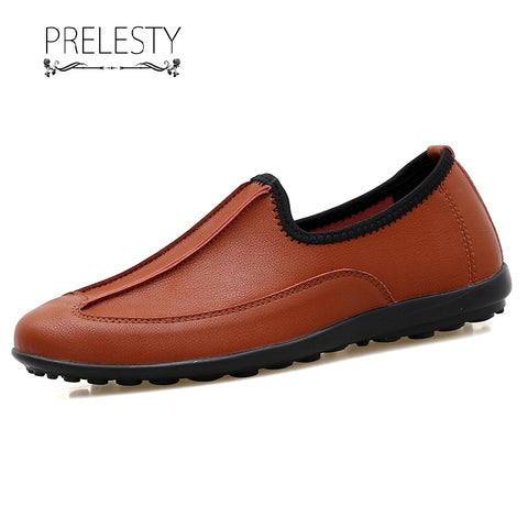 Prelesty Comfortable Driving Car Men Dress Shoes Loafer Comfortable Genuine Cow Leather Easy Wear