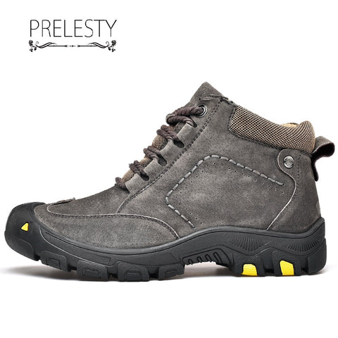 Prelesty Summer Men's Hiking Mountain Shoes High Tops Climbing Outdoor Genuine Cow Leather