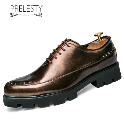 Prelesty Summer Fashion Elegant Men Formal Office Lace Up Shoes Business Soft Breathable Wear Shining
