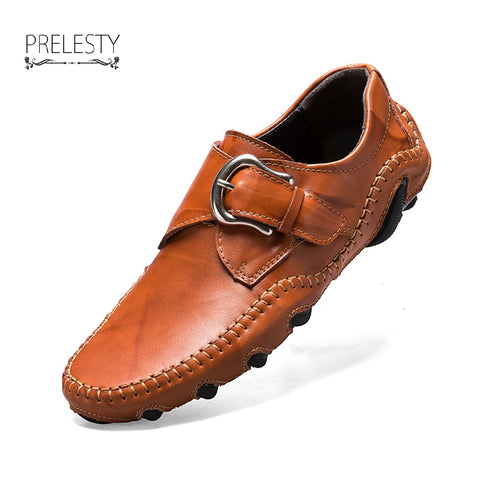 Retro Handmade Leather Shoes Men Casual Genuine Leather Loafer