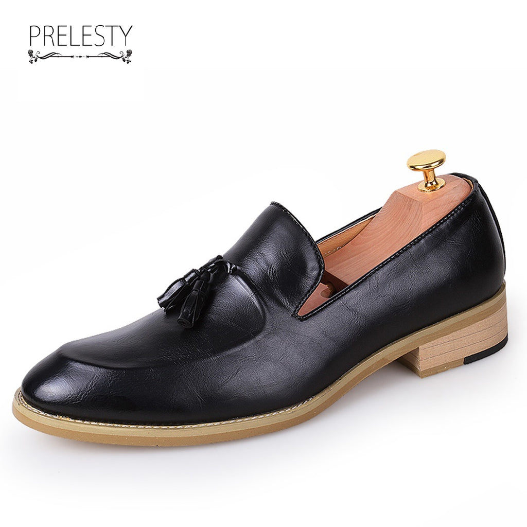 Classic Elegant Italian Light Men Penny Loafer Formal Dress Shoes Wedding Luxury Style Handsome