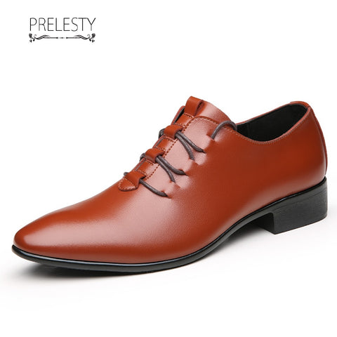 Prelesty New Vintage Formal Wingtip Men Dress Shoes Handsome Cool Business Office Pointed Toe