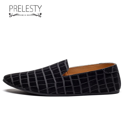 Prelesty Handmade Pointed Toe Casual Loafer Genuine Cow Leather Men Driving Shoes Plaid Pattern Breathable