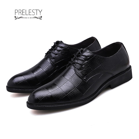 Prelesty Big Size 38~48 Classic Design Formal Business Oxford Wedding Shoes
