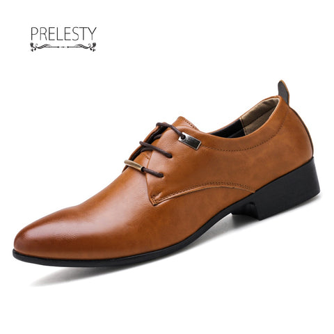 Prelesty Big Size 38~48 Men Dress Office Shoes Pointed Toe Leather Business Wedding Formal Footwear
