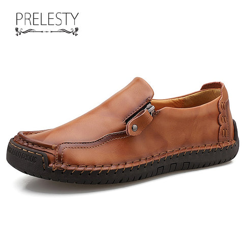Prelesty Summer Fashion Soft Leather Men Loafer Shoes Casual Zipper Comfortable High Quality