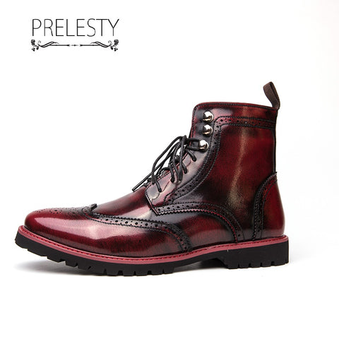 Prelesty Fashion Leather English Men's Boots Shoes High Top Comfortable High Quality Durable
