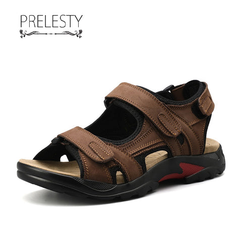 Prelesty Big Size Open Toe Outdoor Men's Sandal Shoes Genuine Leather Beach Camping Non-Slip Sports