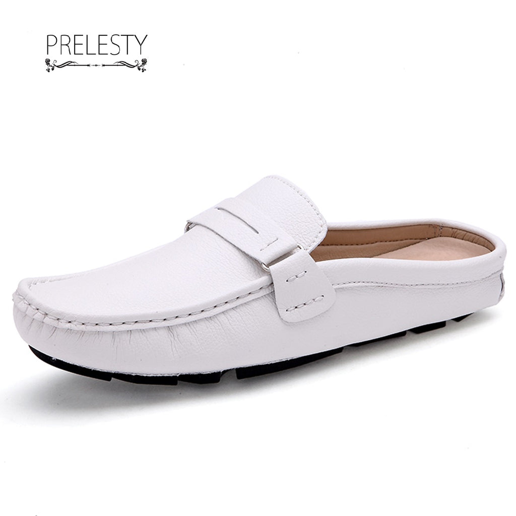 Prelesty Men Driving Shoes Summer Backless Loafers Open Backs Shoes Breathable