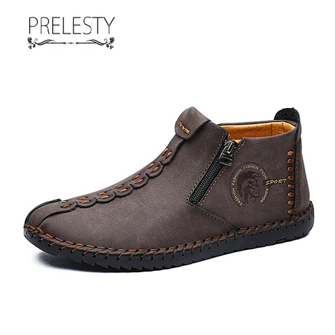 Prelesty Gentleman Real Leather Men Formal Boots High Tops Shoes Vintage Platform Handsome Zipper