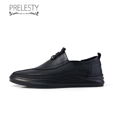 Prelesty Classic Men Formal Shoes Slip On Handsome Genuine Leather Business Smart Comfortable Flat Rubber Bottom