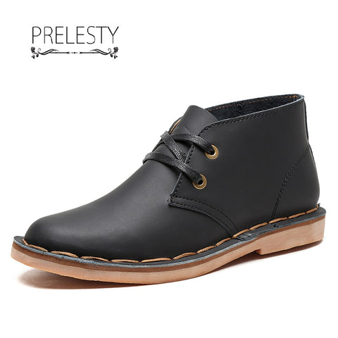Prelesty Italian Style Autumn Men Ankle Boots Warm Shoes Genuine Leather Handsome