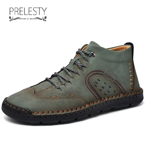 Prelesty Big Size 38-48 Luxury Men Boots Shoes Breathable Handsome Durable Cow Split Leather