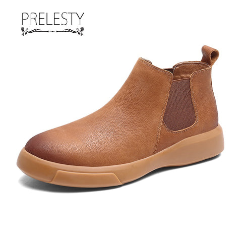 Prelesty Fashion Genuine Leather Men Chelsea Boots High Cut Shoes Vintage Platform Formal Breathable