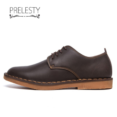 Prelesty Spring High Quality Men Formal Brogues Shoes Smart Business Soft Genuine Cow Leather Cool