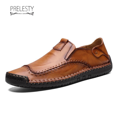 Prelesty Handsome British Style Brogue Men Shoes Genuine Leather Flats Slip On Formal
