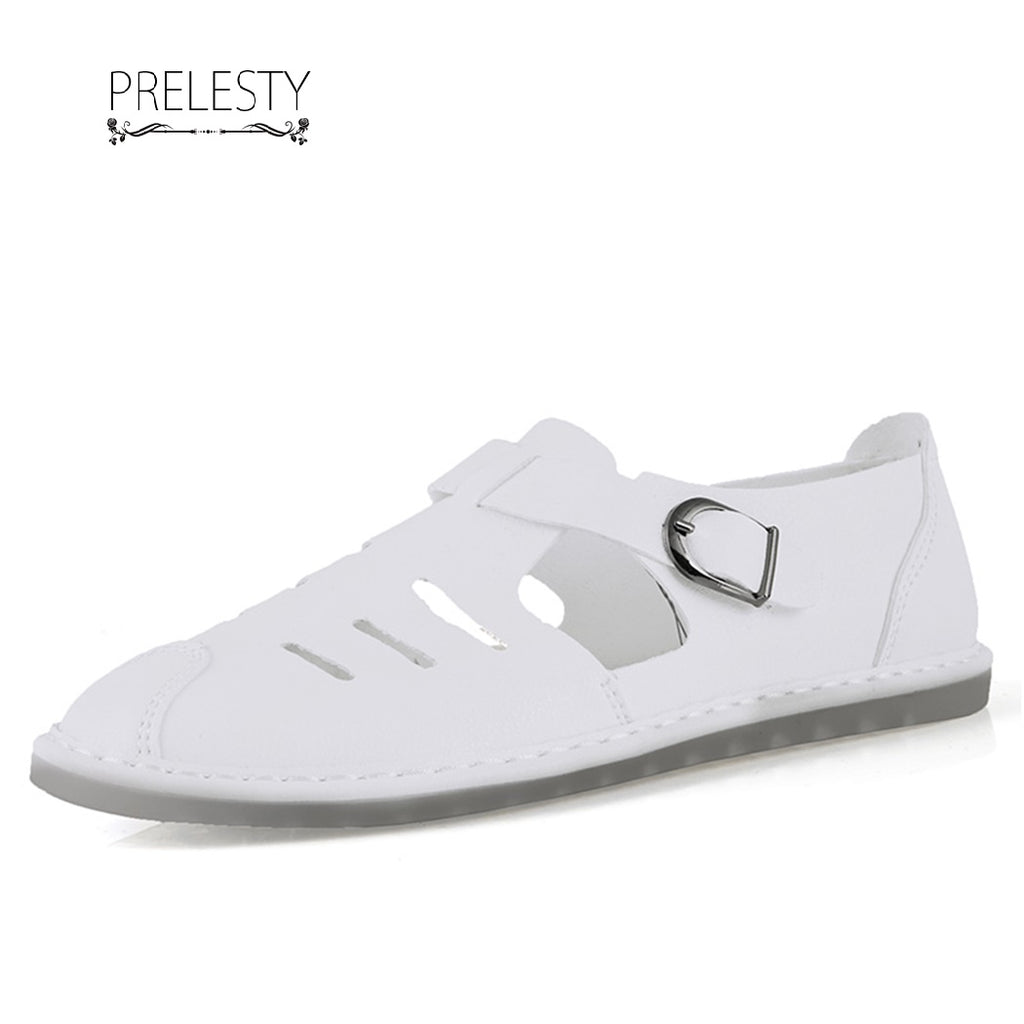 Prelesty Summer Men's Leather Sandals Outdoor Beach Shoe Breathable Buckle Design