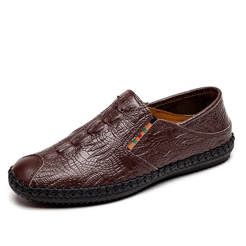 Prelesty Fashion Casual Loafer Men Driving Shoes Crocodile Pattern Soft Genuine Leather
