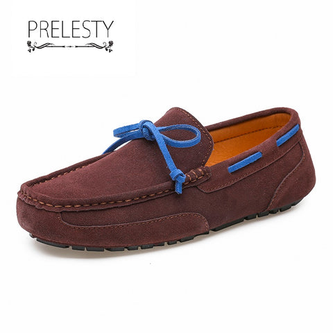 Prelesty Big Size 38~47 Handmade Leather Men Driving Boat Shoes Casual Loafer Moccasin Lightweight
