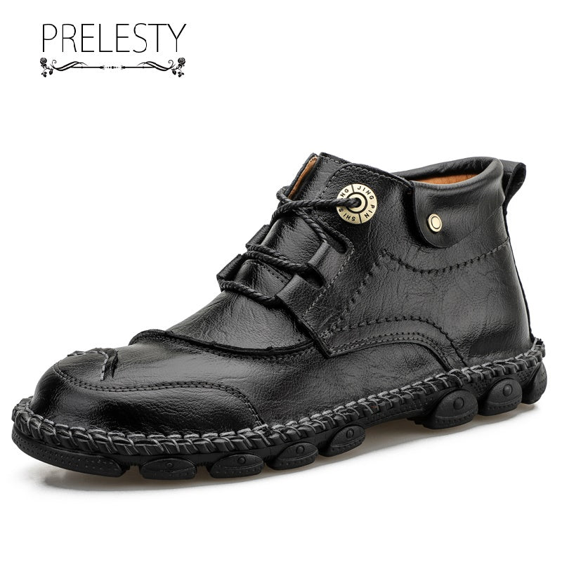 Prelesty Big Size New Fashion Classic Men Boots Shoes High Tops Comfortable Good Quality Genuine Leather