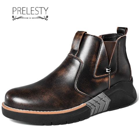 Prelesty Luxury Steampunk Men Boots High Tops Shoes Vintage English Style Cool Handsome Platform