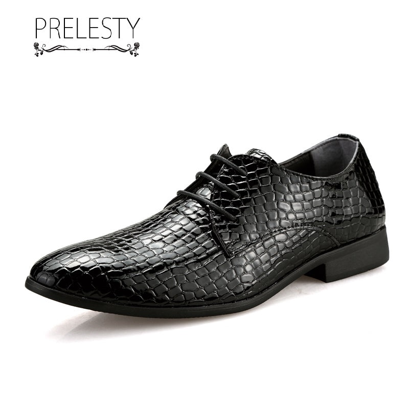 Prelesty Classic Style Handmade Leather Men Driving Shoes Formal Lace Up Moccasin Lightweight Crocodile