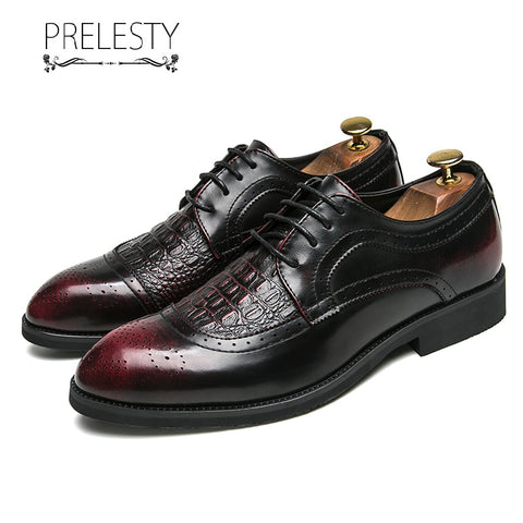 Prelesty New Men Formal Brogues Shoes Business Work Office Party Handsome Comfortable Wedding Wingtip Design