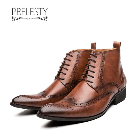 Prelesty New Cool Fashion Sharp Toe Leather Men Boots Carved High Tops Shoes Zipper English Platform
