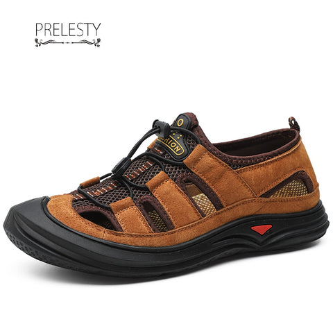 Prelesty Summer Men's Cow Leather Outdoor Sandals Shoes Breathable Cap Toe Design